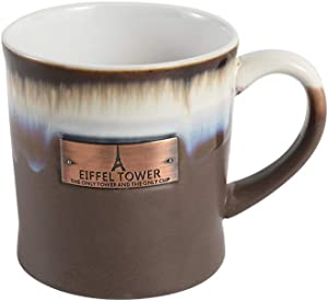 Large Clay in Motion Mug, Big capacity Ceramic Coffee Tea Cup for Office and Home, 16 Oz Eiffel Tower Stoneware mugs