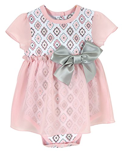 Stephan Baby Snapshirt-Style Chiffon Skirted Diamond Flower Diaper Cover, Pink/Grey/White, 6-12 Months