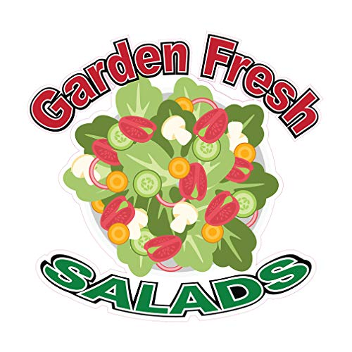 (Die-Cut Sticker Multiple Sizes Garden Fresh Salads Restaurant & Food Salad Indoor Decal Concession Sign Green - 10in Longest Side)