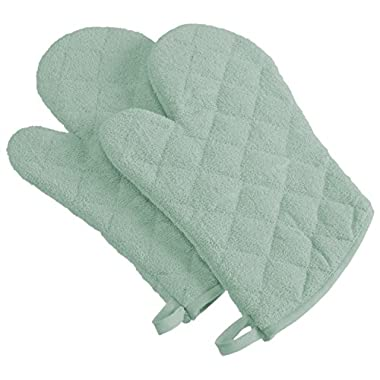 DII 100% Cotton, Machine Washable, Heat Resistant, Everyday Kitchen Basic, Terry Oven Mitt, 7 x 13 , Set of 2, Mint