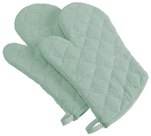 DII 100% Cotton, Machine Washable, Everyday Kitchen Basic Terry Ovenmitt Set of 2, Mint