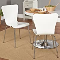 Simple Living Retro Hourglass Shape Curves Pisa Bentwood Fashionable Contemporary Modern Stackable Chrome-plated Tube Metal Leg Chair (2, White)