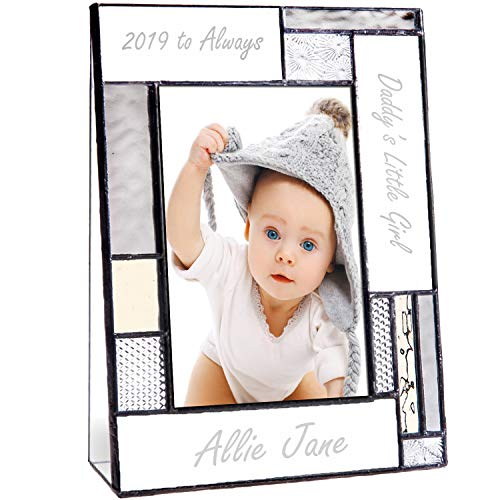 Dad Picture Frame Personalized 4x6 Photo Engraved Stained Glass Father Papa Grandfather from Daughter or Son Pic 392-46V - Frame Glass Etched