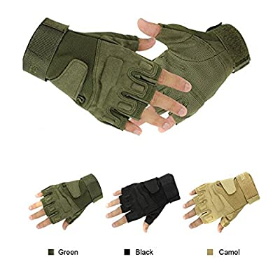 Wenseny - Military Half-finger Fingerless Tactical Airsoft Hunting Riding Cycling Gloves Green-L