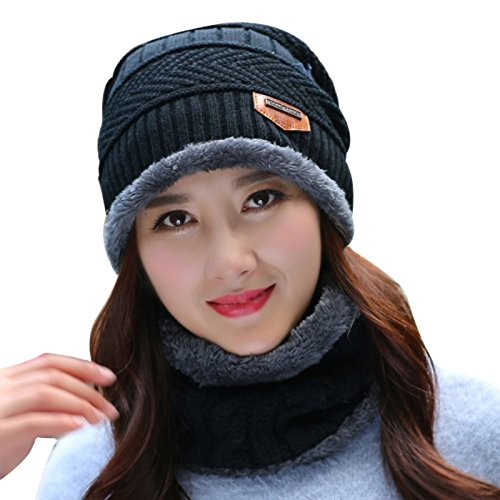 8bb73509518 Handcuffs Women s Woollen Skull Cap with Muffler (Black
