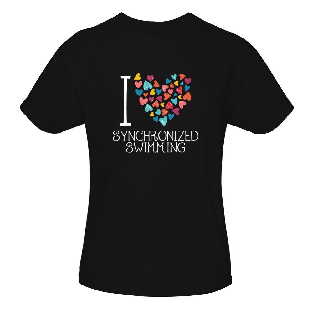 Idakoos - I love Synchronized Swimming colorful hearts - Sports - Girl T-Shirt IDKSI7A557560003116366
