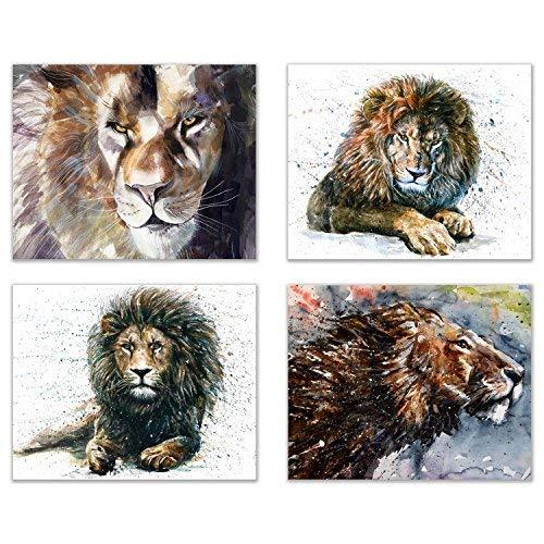 Lion Wall Art Decor Prints - Set of 4 8x10 Poster Safari Animal Kingdom Art