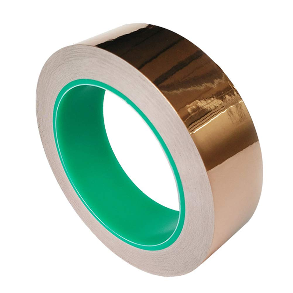 Copper Foil Tape with Conductive Adhesive,Dual Conductive Tape Oxidation Resistant Tape Slug Repellent, EMI Shielding, Stained Glass, Paper Circuits, Electrical Repairs Crafts (25mm x 20m)