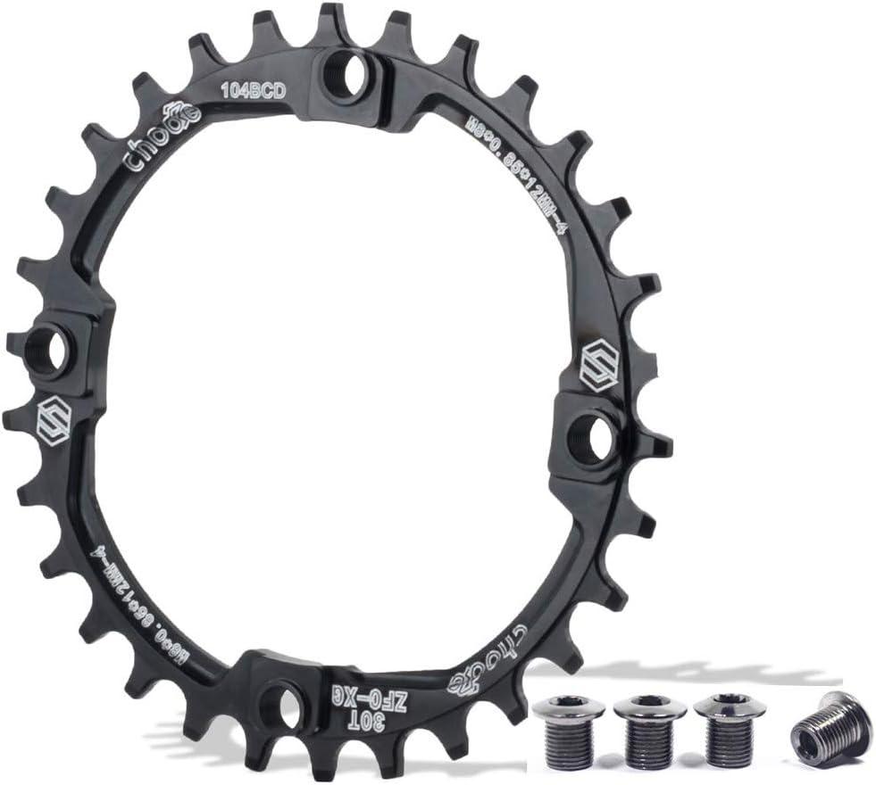 EASTERN POWER Plato Bicicleta Montaña, Plato 30/32/34/36/38 Dientes BCD 104, Aluminio Monoplato 30T/32T/34T/36T/38T MTB, Rojo/Negro