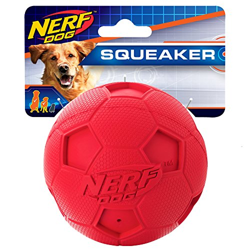 Nerf Dog Soccer Squeak Ball Dog Toy, Large, Red