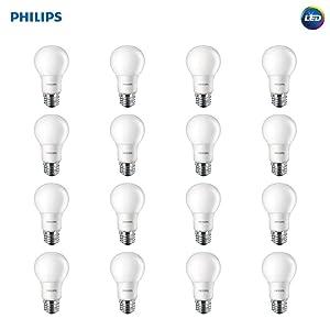 Philips LED Non-Dimmable A19 Frosted Light Bulb: 800-Lumen, 5000-Kelvin, 8-Watt (60-Watt Equivalent), E26 Base, Daylight, 16-Pack