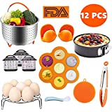 Pressure Cooker Accessories Set, Compatible with Instant Pot 5,6,8 QT Includes Steamer Basket, Egg Bites Molds, Springform Pan, Egg Steamer Rack, Kitchen Tong, Oven Mitts and Silicone Sponge Scrubber