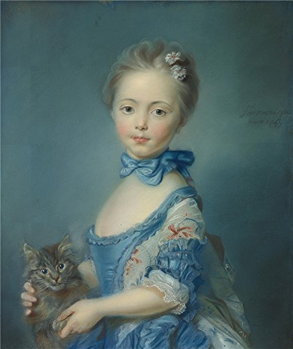 Oil Painting 'Jean Baptiste Perronneau A Girl With A Kitten' 20 x 24 inch / 51 x 60 cm , on High Definition HD canvas prints is for Gifts And Dining Room, Garage And Powder Room Decoration Ashton Light Fixture
