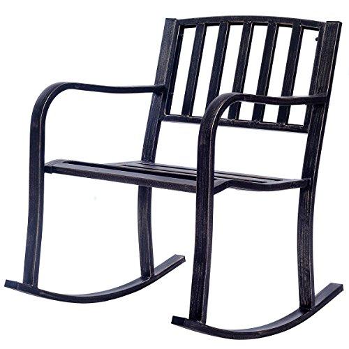 Patio Rocking Chair Deck Metal Porch Seat Outdoor Backyard Glider Rocker by White Bear & Brown Rabbit