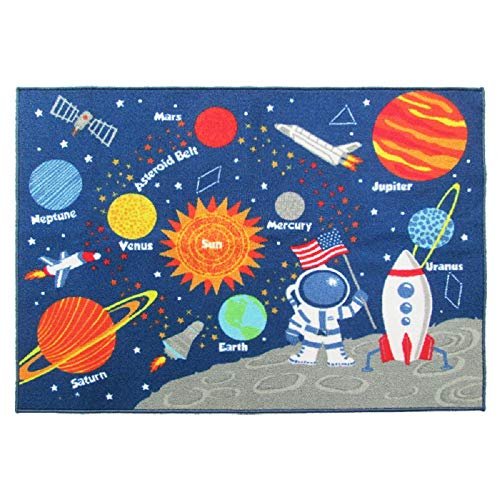 HEBE Kids Rugs Non Skid Washable Children Educational Learning Carpet for Playroom Bedroom Solar System Large Area Rug Blue 3.3 x 4.3 (Stars)