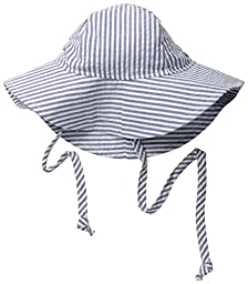 Flap Happy Baby Girls\' UPF 50+ Floppy Hat, Chambray Stripe Seersucker, Medium