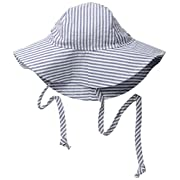 Flap Happy Baby Girls' UPF 50+ Floppy Hat, Chambray Stripe Seersucker, Small