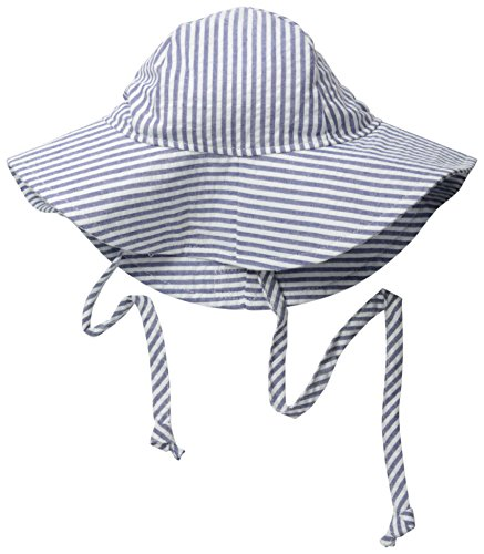 Flap Happy Baby Girls' UPF 50+ Floppy Hat, Chambray Stripe Seersucker, Small