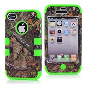 SHHR-HX4G40N Tree Camo Design Hybrid Cover Case for Apple iPhone4 4s 4G -Green Color