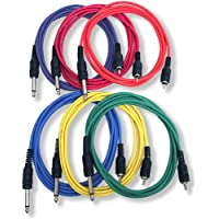GLS Audio 6ft Patch Cable Cords - RCA To 1/4 TS Color Cables - 6 Home Series Cord - 6 PACK