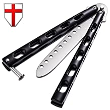 Butterfly Knife Trainer Practice Balisong - Dull Stainless Steel Folding Straight Blade Black Metal Handles - Safe Professional Pocket Unsharpened Knives - Grand Way 1022 EY