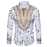 Men Long Sleeve Hipster Print T-Shirt Blouse Polo Slim Fit Shirts Tops (L, White)