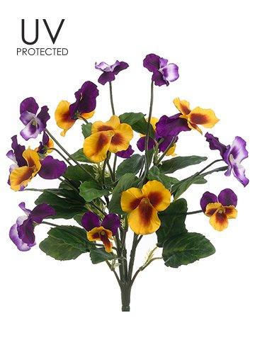 Arcadia Silk Plantation 12″ UV Protected Pansy Bush Violet Yellow (Pack of 12)