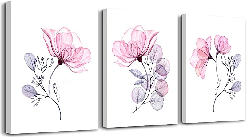 3 Panel Framed Pink Flower Picture Canvas Print Wall Art Home Decor Painting