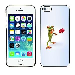 TopCaseStore / la caja del caucho duro de la cubierta de protección de la piel - Kids Toy Skill Frog Play Playing Minimalist - Apple iPhone 5 / 5S
