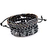 Young & Forever MenTastic Collection Black Leather Wooden Beads Bracelet Pack of 3 For Men / Boy / B758