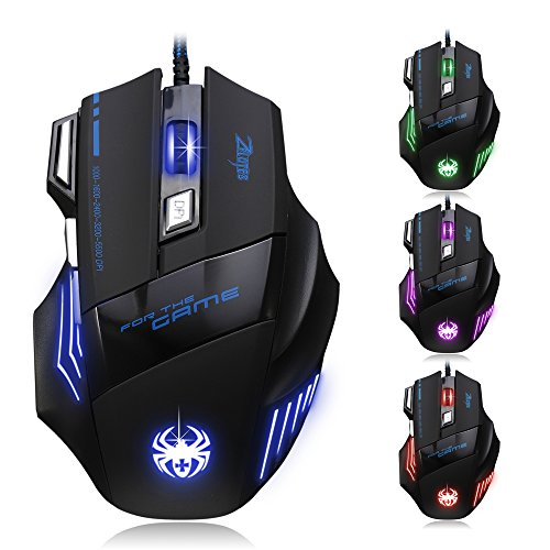 DLAND ZELOTES Professional LED Optical 7200 DPI 7 Button USB Wired Gaming Mouse Mice for gamer Adjustable DPI Switch Function 7200DPI/3200DPI/2400 DPI /1600 DPI /1000 DPI For Pro Game Notebook PC Laptop Computer