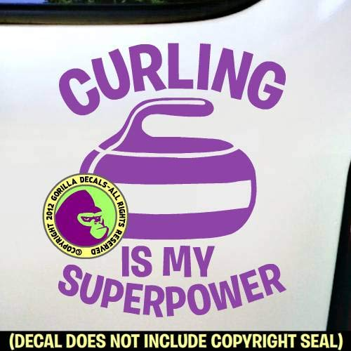 CURLING IS MY SUPERPOWER Stone Sport Game Player Vinyl Decal Sticker F