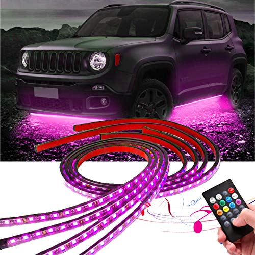 Car Neon Underglow Lights, Auto Parts ClubWaterproof RGB LED Strip Light Multi-colored Underbody Exterior Lighting Kit with Sound Active Function and Wireless Remote Control 5050 SMD LED Light Strips