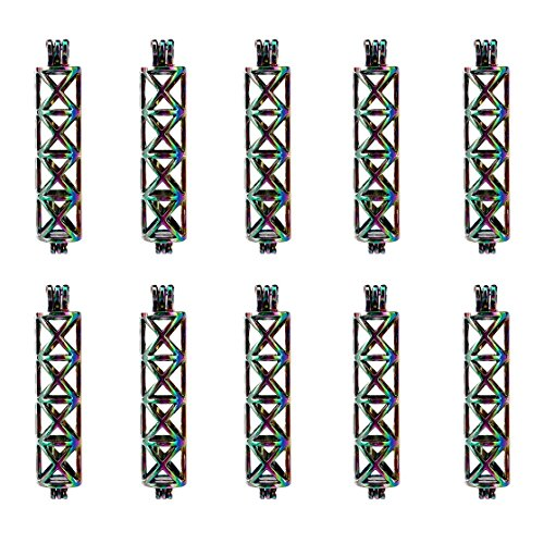 (10 Pack) Rainbow Color Rectangle Tube Cross Locket Pearl Beads Cage Open Pendant Charms