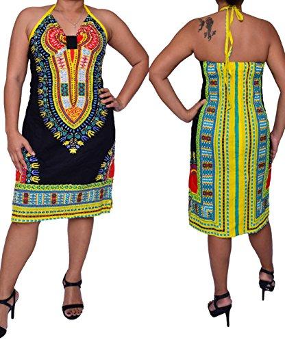 shekiss Women Sexy Print Sling Backless Dashiki Bodycon Stretch Club Dress Black Large (Wholesale Women Dresses)