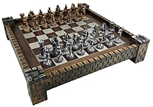 "Medieval Times Knight Antique Gold and Silver Color Pewter Chess Set W/ 17"" Castle Fortress Board"
