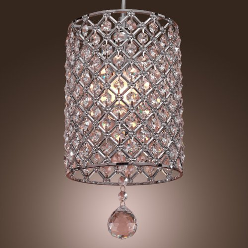 Y&L® Modern Crystal Drop Lighting Crystal Drum Fixture Ceiling Chandelier H16″ X W7″ X L 7″, Lights