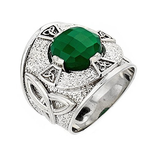 925 Sterling Silver Trinity Knot Band Men's Celtic Ring with Green Agate (Celtic Trinity Knot Band)