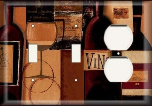 Two Switch/ One Duplex Receptacle Plate - Wine Bottles