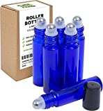 Essential Oils for Earache Pure Essential Oils Roller Bottles with Recipe eBook, 6-Pack, Cobalt Blue