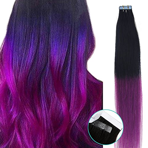 Yotty Hair Extensions Seamless Tape in Skin Weft Brazilian Remy Human Hair 20Inch Long (20inch40pcs100gram, Ombre T Color 1/Purple Black to Purple) -