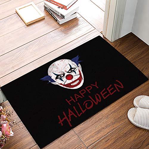 Family Decor Happy Halloween Clown Indoor Outdoor Doormat Rubber Non-Slip Shoes Scraper Waterproof Easy Clean Low-Profile Mats 15.7