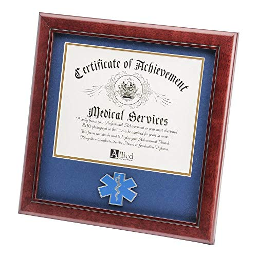 Allied Frame US EMS Certificate of Achievement Picture Frame with Medallion - 8 x 10 Inch Opening ()