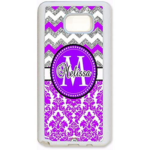 ArtsyCase Purple Damask Silver Chevron Monogram Personalized Name Phone Case - Samsung Galaxy S7 Edge (White) Sales