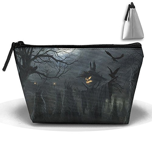 Trapezoid Portable Travel Toiletry Pouch Scarecrow Halloween Night Cosmetic Bags Multifunction Clutch (Halloween Scarecrow Makeup)