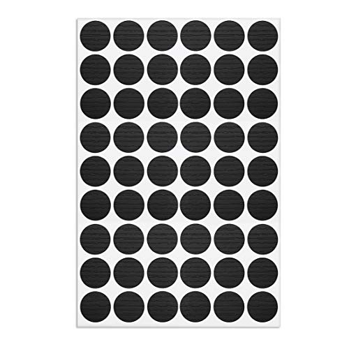 uxcell Self-Adhesive Screw Hole Stickers,1-Sheet Self-Adhesive Screw Covers Caps Dustproof Sticker 21mm 54 in 1 Black Walnut