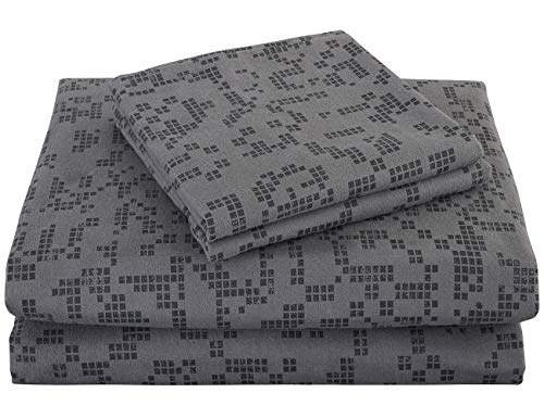 PHF Flannel Sheet Set 100% Cotton Printed 140 GSM Deep Pocket Bedding Warm 3-Piece Grid Pattern Queen Size Charcoal