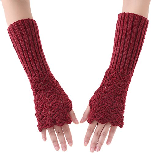 Nylon Print Gloves - Fingerless Arm Gloves Knit Arm Warmer for Winter Knitted Fingerless Gloves