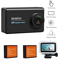 4K Action Camera Wifi WiMiUS L3 16MP 2.45 LCD Touch Screen Waterproof Sports Camera Sony Sensor IMX078 HD Camcorder With 2pcs Batteries and 20 Accessories Kits(Black)