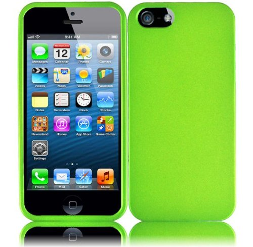 Importer520 Rubberized Snap-On Hard Skin Protector Case Cover For Apple iPhone 5S/5 - Neon Green